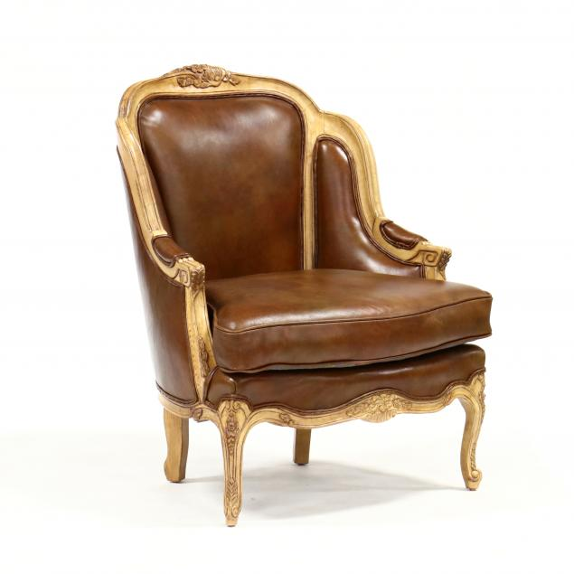 louis-xv-style-leather-upholstered-bergere