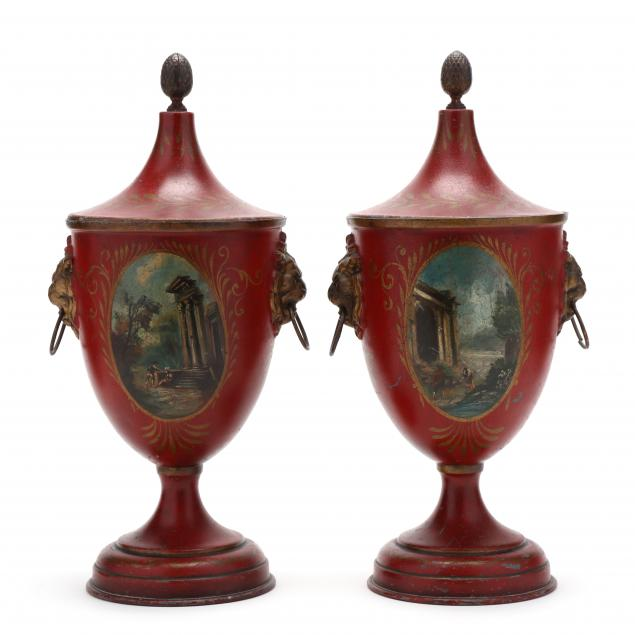 pair-of-antique-regency-style-toleware-covered-urns