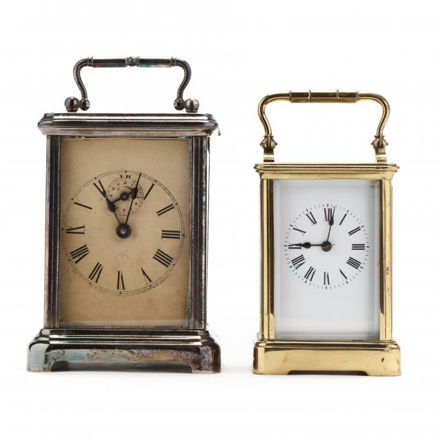two-vintage-carriage-clocks