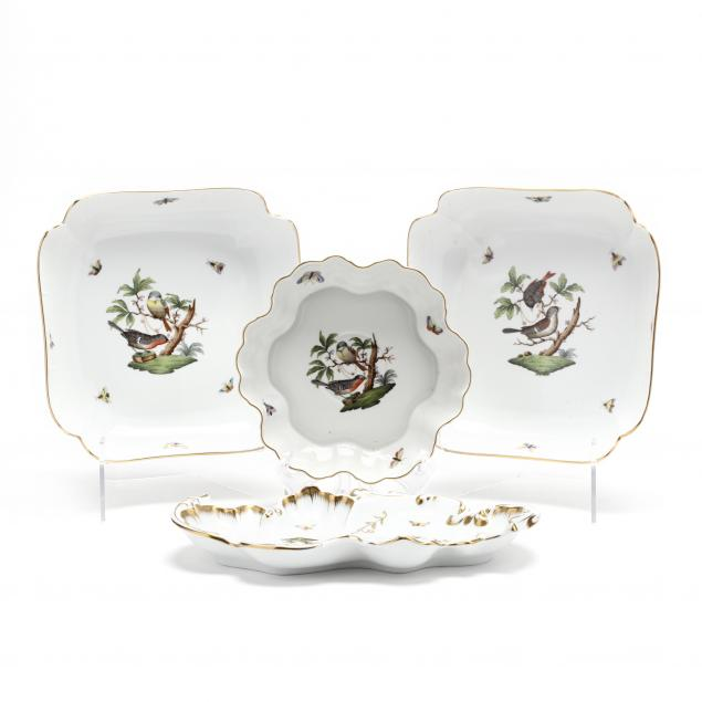 four-herend-i-rothschild-bird-i-porcelain-serving-dishes
