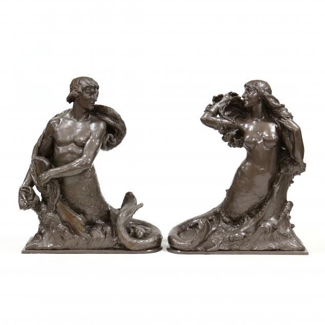 johan-selmer-larsen-1876-1969-merman-and-mermaid-maquettes