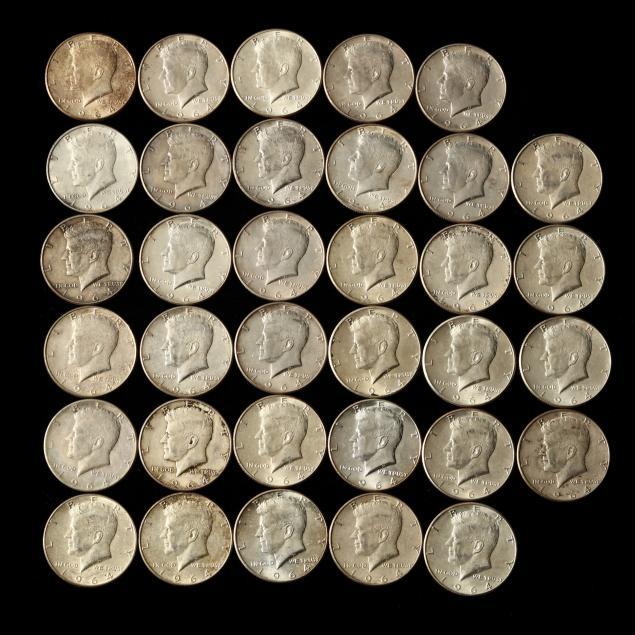 thirty-four-34-1964-90-silver-kennedy-half-dollars