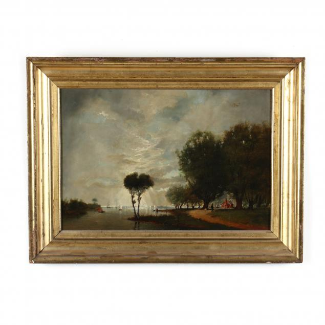 an-antique-american-school-painting-of-a-shoreline-scene