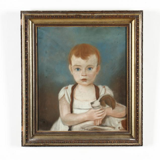 antique-american-school-pastel-portrait-of-a-young-boy-with-dog