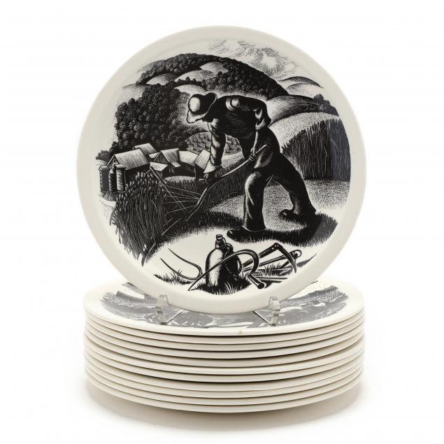 twelve-clare-leighton-designed-cabinet-plates-for-wedgwood