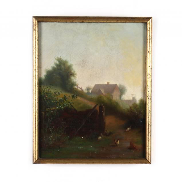 an-antique-american-school-farm-scene-with-chickens
