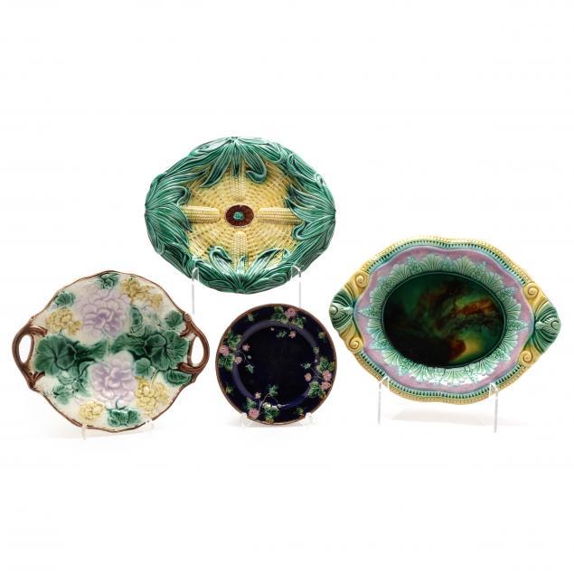 four-antique-majolica-pieces