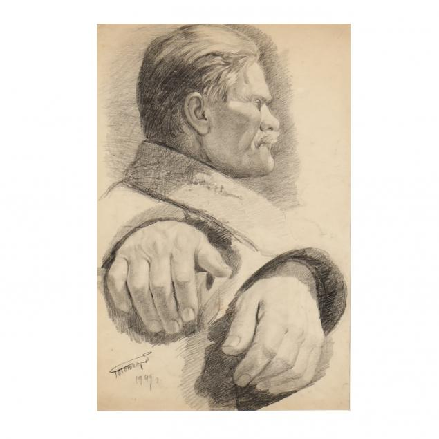grigory-andreyevich-goncharov-russian-1913-2001-profile-portrait-and-studies-of-hands