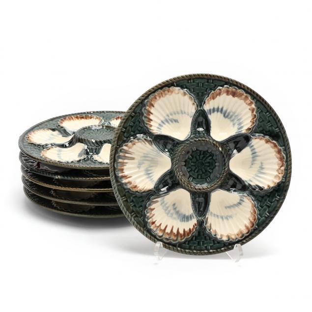 a-vintage-set-of-six-longchamps-majolica-oyster-plates
