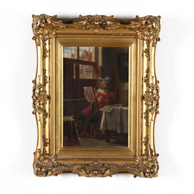 dutch-school-genre-painting-of-a-cavalier-examining-prints
