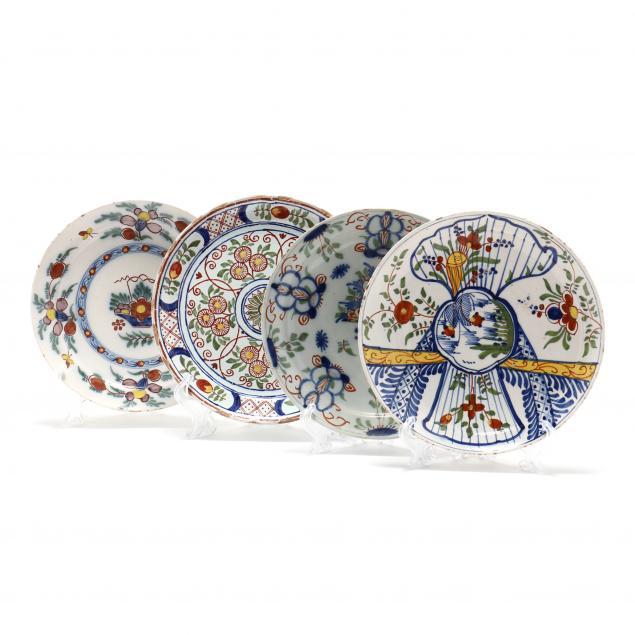 four-antique-dutch-delft-polychrome-plates