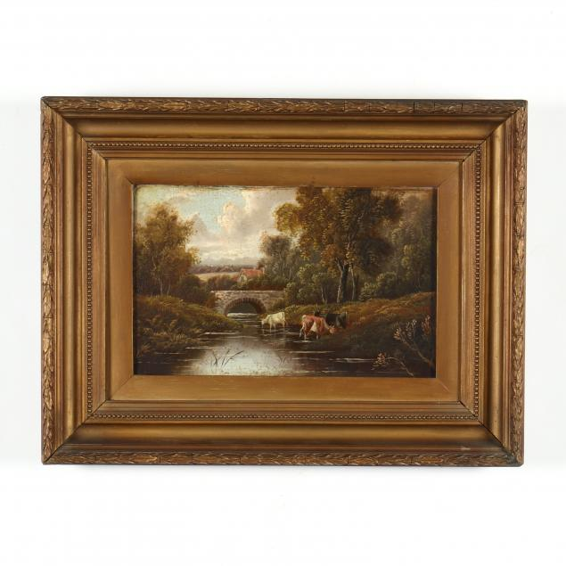 an-antique-english-school-painting-of-cattle-watering