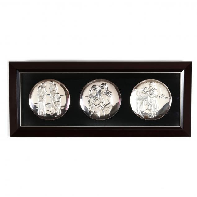 the-hamilton-mint-three-sterling-silver-picasso-tribute-plates