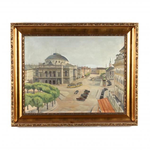 arthur-brener-danish-1886-1959-bird-s-eye-view-of-a-european-avenue