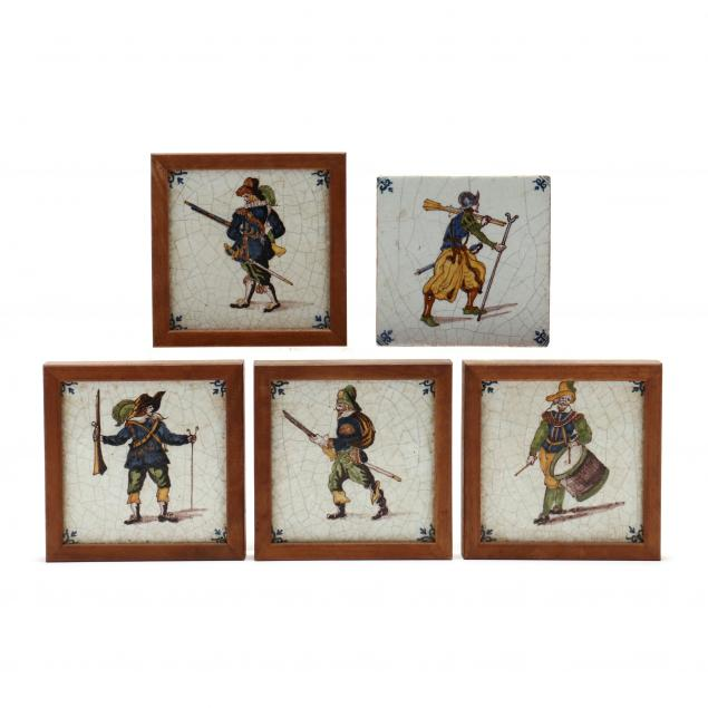 five-antique-figural-polychrome-delft-ceramic-tiles