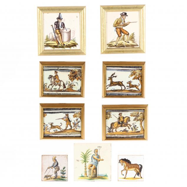 nine-antique-continental-polychrome-earthenware-tiles