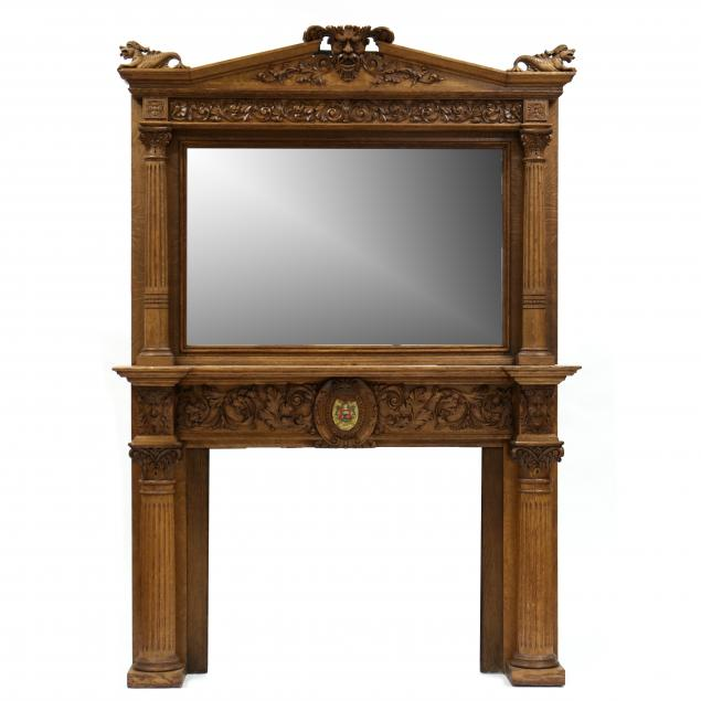 large-antique-carved-oak-and-mirrored-mantel