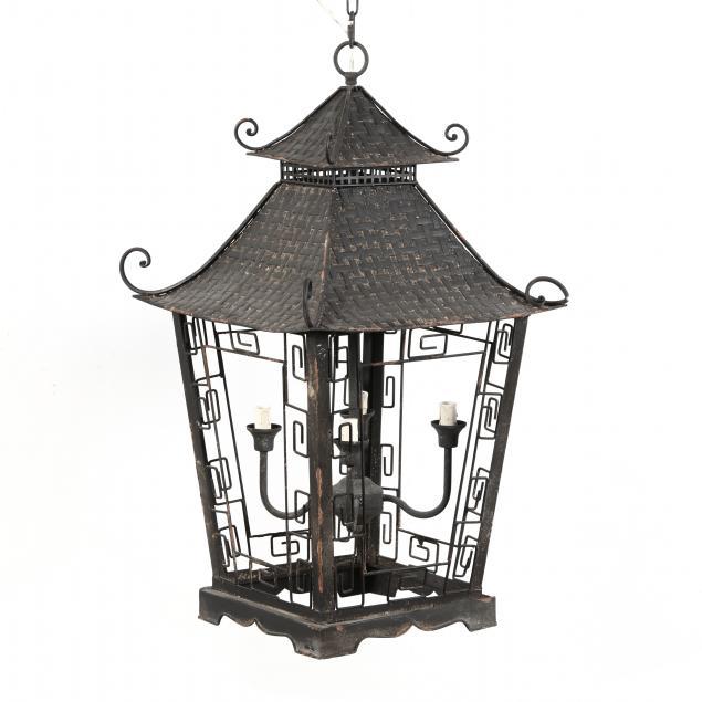 contemporary-painted-metal-pagoda-pendant-light