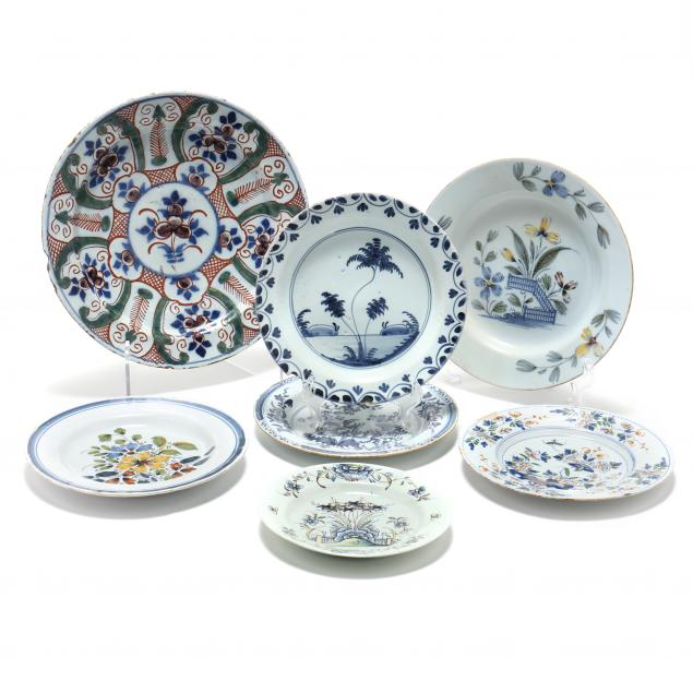 six-english-delft-plates-and-a-charger
