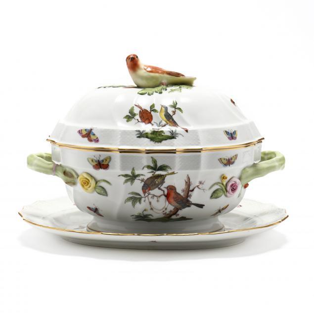 herend-i-rothschild-bird-i-lidded-tureen-and-platter