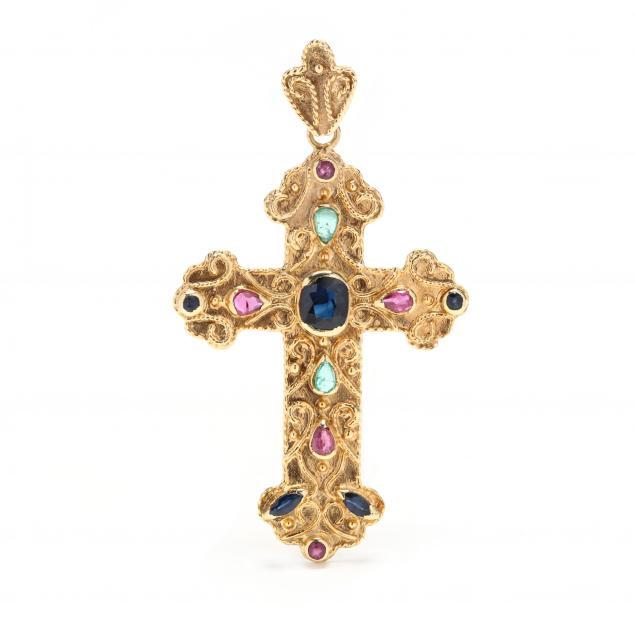 18kt-gold-and-gem-set-cross-pendant
