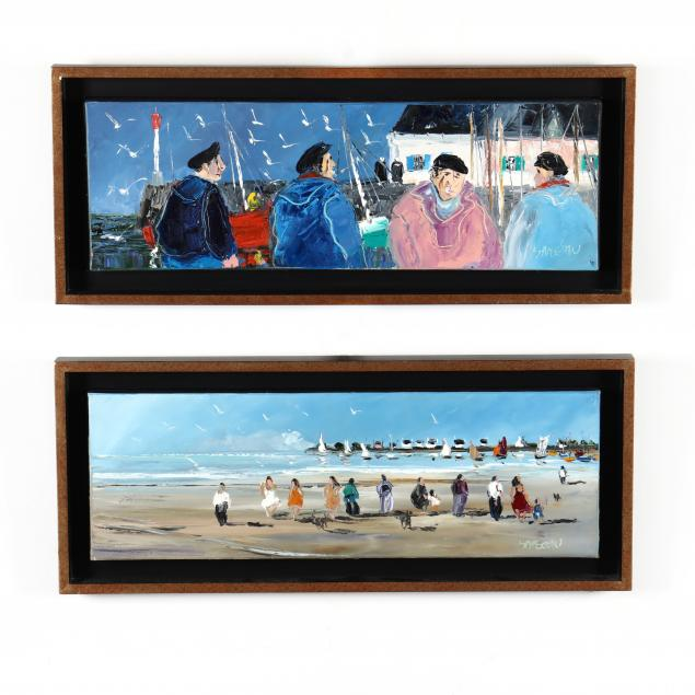 christian-sanseau-french-born-1952-two-coastal-paintings