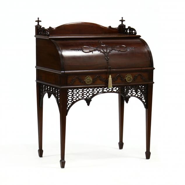 edwardian-carved-mahogany-cylinder-writing-desk