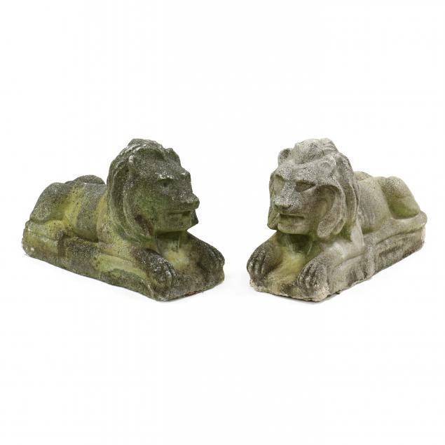 pair-of-vintage-cast-stone-lions