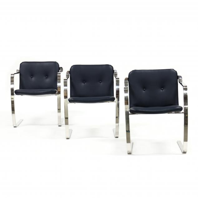 set-of-three-polished-steel-armchairs