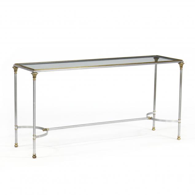 att-jansen-steel-brass-and-glass-console-table