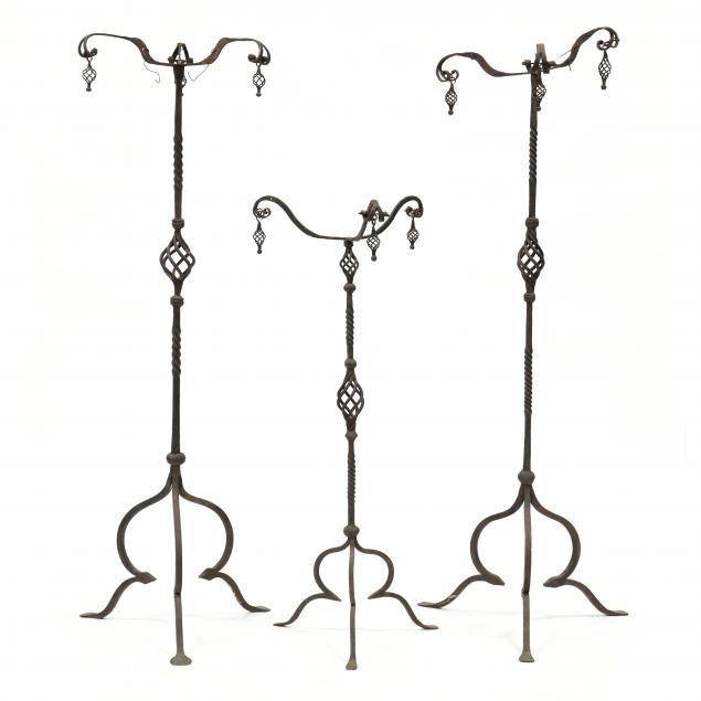 three-spanish-wrought-iron-stands
