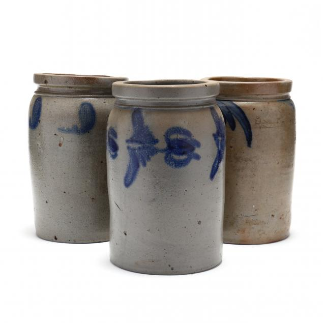 three-antique-american-stoneware-storage-jars