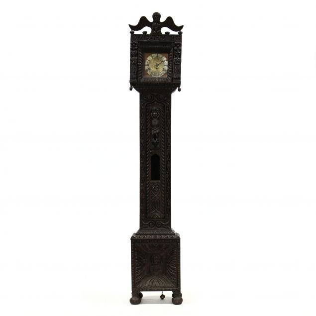 antique-english-folk-art-carved-tall-case-clock