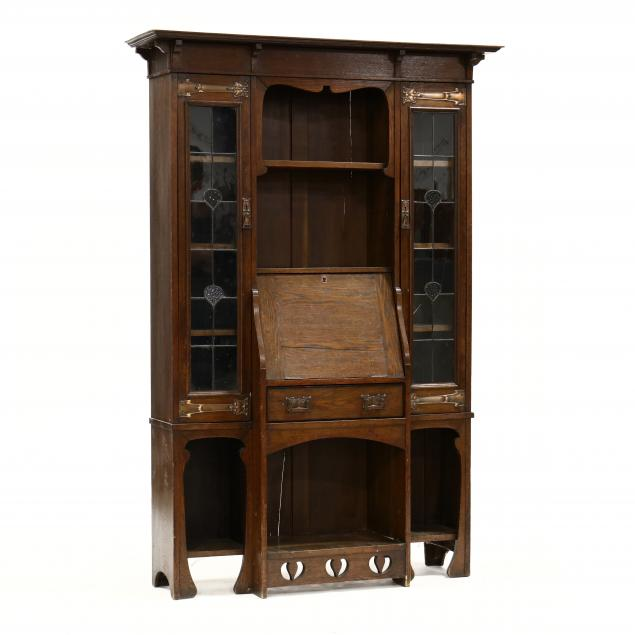 english-art-nouveau-oak-secretary-bookcase