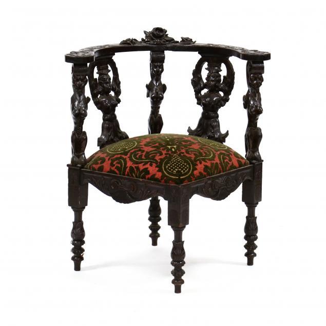 antique-continental-carved-walnut-corner-chair