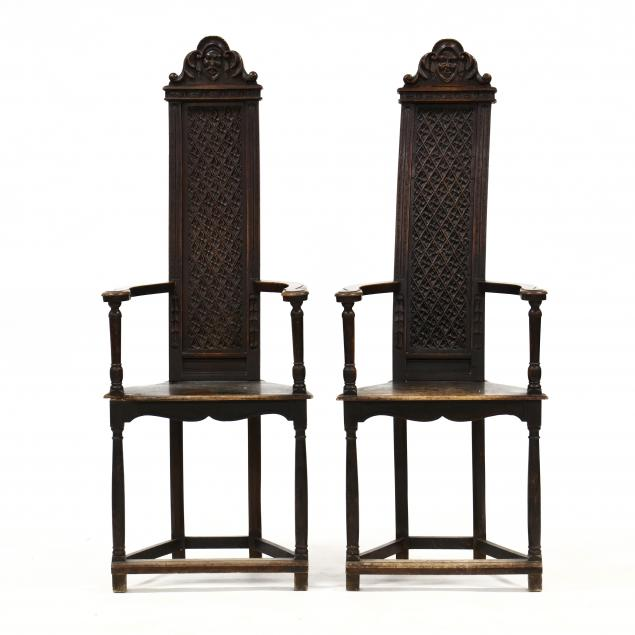 pair-of-william-and-mary-style-carved-tall-back-armchairs
