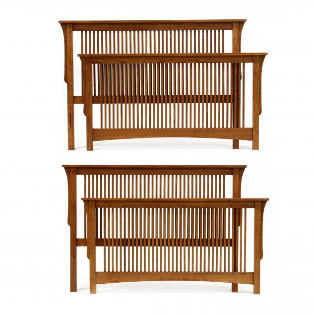 pair-of-mission-oak-style-queen-size-beds