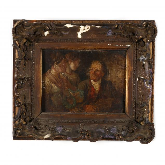 an-antique-french-school-painting-of-an-intimate-familial-genre-scene