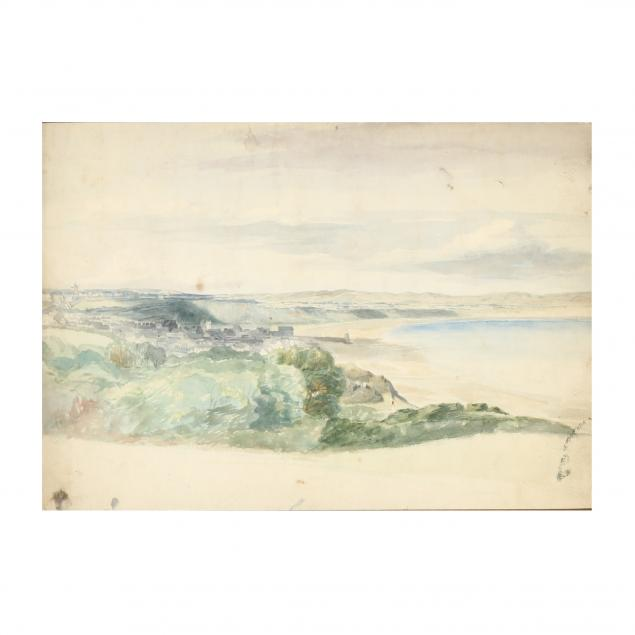 19th-century-watercolor-of-a-seaside-town