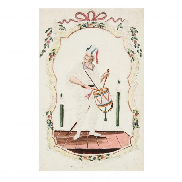 an-antique-pin-prick-watercolor-picture-of-a-drummer