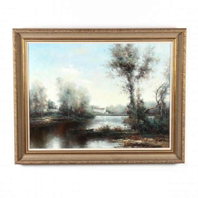 decorative-painting-of-a-lake-scene-with-figure-rowing