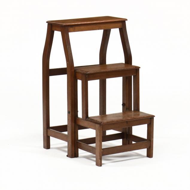 antique-walnut-folding-library-steps