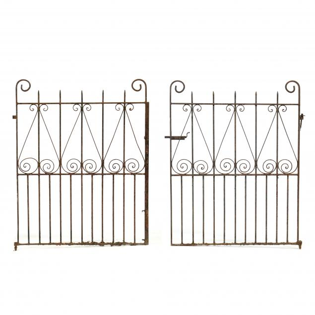 a-pair-of-antique-hand-wrought-iron-gates