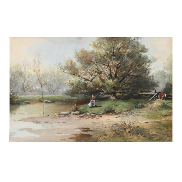 joseph-conover-claghorn-american-1869-1947-mother-child-in-a-pastoral-landscape