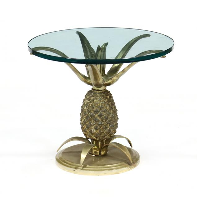 hollywood-regency-style-brass-pineapple-side-table
