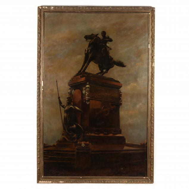 large-continental-painting-of-an-equestrian-monument