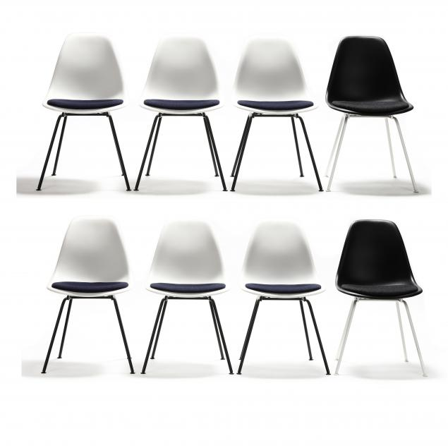 charles-and-ray-eames-set-of-eight-white-and-black-shell-chairs