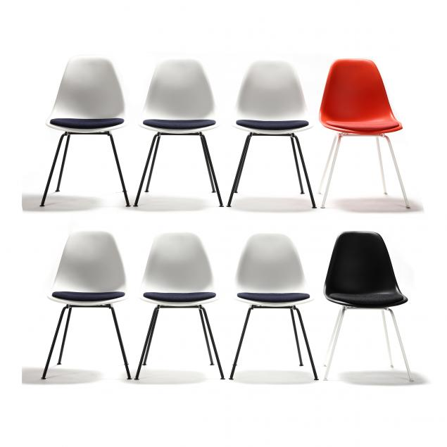 charles-and-ray-eames-set-of-eight-orange-white-and-black-shell-chairs