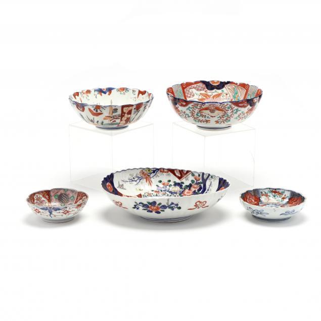 a-selection-of-five-porcelain-imari-bowls