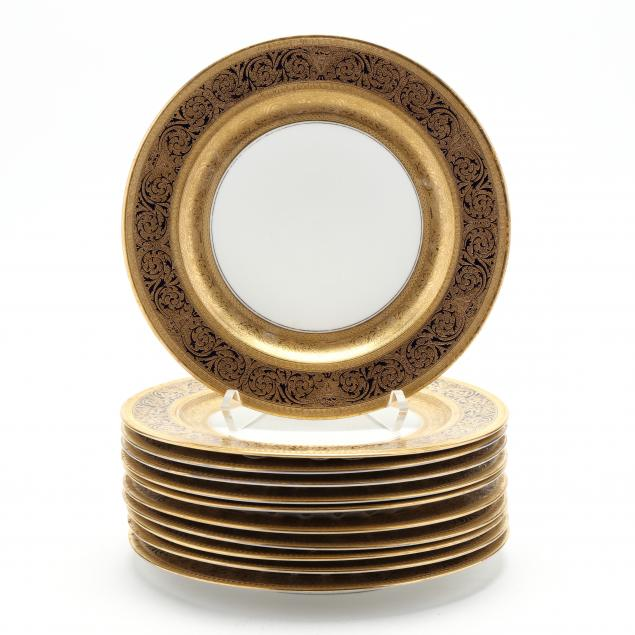set-of-11-vintage-gold-encrusted-luncheon-plates